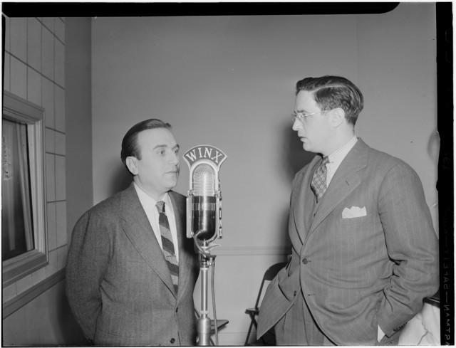 [Portrait of Charlie Spivak and William P. Gottlieb, WINX, Washington, D.C., ca. 1940]