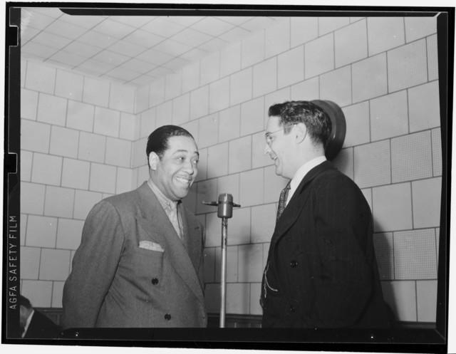 [Portrait of Duke Ellington and William P. Gottlieb, WINX, Washington, D.C., ca. 1940]