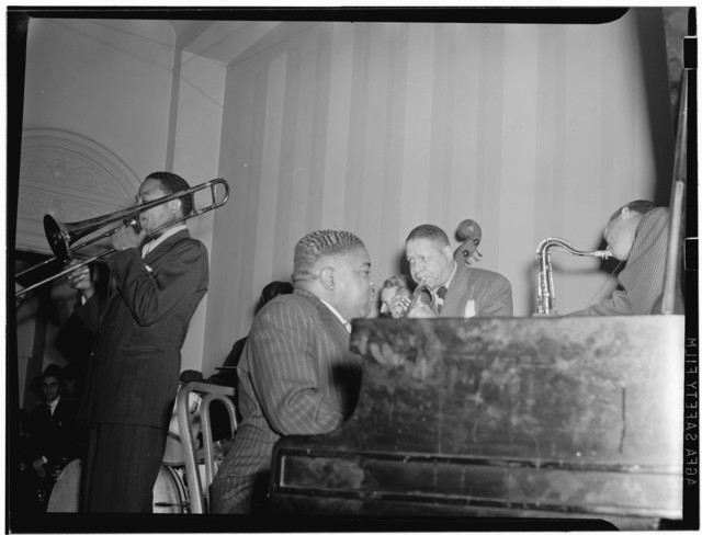 [Portrait of Jay Higginbotham, Pete Johnson, Henry Allen, and Lester Young, National Press Club, Washington, D.C., ca. 1940]