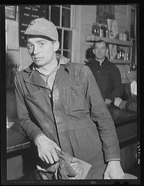 Portrait of Mr. Malcolm Clough, who commutes from Portland and works at the Bath Iron Works. Bath, Maine