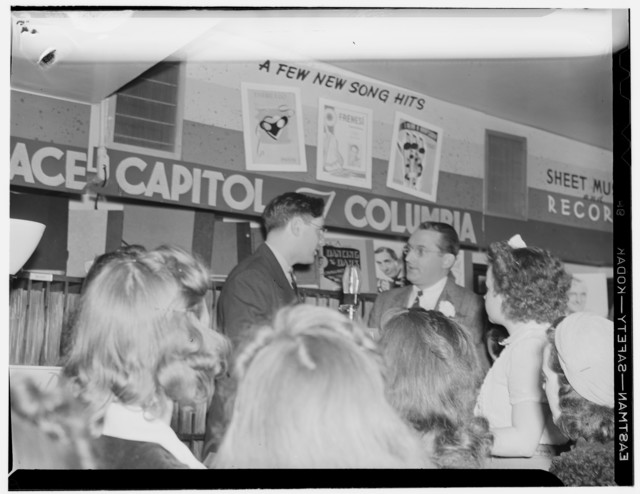 [Portrait of Tommy Dorsey and William P. Gottlieb, record store, Washington, D.C., ca. 1940]