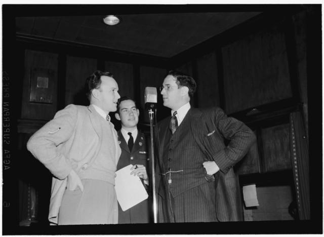 [Portrait of Will Bradley, Mart Garvey, and William P. Gottlieb, NBC/WRC show, Washington, D.C., ca. 1940]
