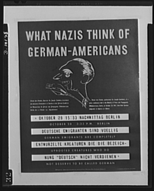 Poster: What Nazis think of German-Americans. Poster distributed by the OWI to German-American clubs. The original is 22 inches x 28 inches and is printed in black and white on red. Copies are obtainable from Division of Public Inquiry, Office of War Information, 14th Street and Pennsylvania Avenue, N.W., Washington, D.C.