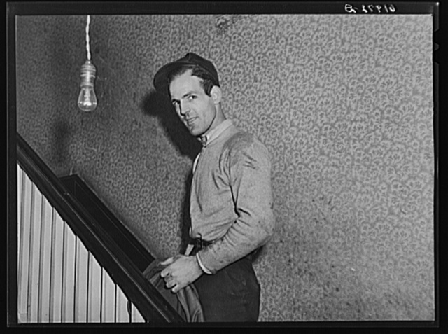 Powder plant employee going upstairs. Mrs. Pritchard's boardinghouse. Radford, Virginia