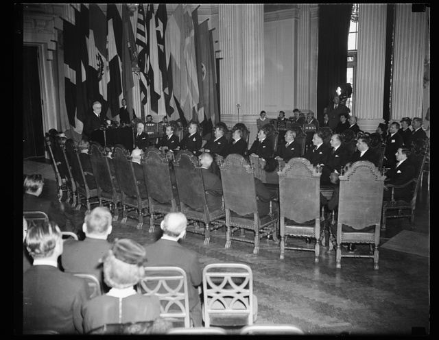 PRESIDENT ROOSEVELT ADDRESSES PAN AMERICAN BOARD ON 50TH ANNIVERSARY. WASHINGTON, D.C. APRIL 15. PRESIDENT ROOSEVELT, SHOWN HERE STANDING TO RECEIVE AN OVATION FROM MINISTERS AND AMBASSADORS FROM THE 21 PAN AMERICAN REPUBLICS, ADDRESSED THE GOVERNING BOARD OF THE UNION ON ITS 50TH ANNIVERSARY. HE SAID THAT HE HOPED THE AMERICAS WOULD NEVER HAVE TO RESORT TO FORCE FOR ITS DEFENSE, BUT THAT HE WAS CONVINCED THAT THE AMERICAS WOULD BY WHOLLY SUCCESSFUL IN DEFENDING THEIR WAY OF LIFE BECAUSE THE 'INNER STRENGTH OF A GROUP OF FREE PEOPLE IS IRRESISTIBLE WHEN THEY ARE PREPARED TO ACT