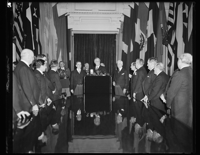 PRESIDENT TELLS PAN AMERICAN BOARD THAT AMERICA'S MUST MEET FORCE WITH FORCE IF THREATENED. WASHINGTON, D.C. APRIIL 15. PRESIDENT ROOSEVELT DECLARED TODAY IN AN ADDRESS BEFORE THE GOVERNING BOARD OF THE PAN AMERICAN UNION, THAT THE 21 AMERICAN REPUBLICS MUST BE PREPARED TO 'MEET FORCE WITH FORCE' IF THEIR SYSTEM OF PEACEFUL RELATIONS IS CHALLENGED. THE OCCASION WAS THE 50TH ANNIVERSARY OF THE UNION; SECRETARY OF STATE CORDELL HULL, WHO IS ALSO CHAIRMAN OF THE GOVERNING BOARD; DR. MANUEL DE FREYRE Y. SANTAND; DR. FRANCISCO NAJERA, AMBASSADOR FROM MEXICO; DR. CARLO MARTINS, AMB. FROM BRAZIL; DR. ALBERTO CABERO, AMB. FROM CHILE; DR. JORGE E. BOYD AMB. FROM PANAMA; DR. ANDRE PASTORICA, MINISTER FROM THE DOMINICAN REPUBLIC; DR. LUIS FERNANDO GAUCHALLA, MIN. FROM BOLIVIA; DR. DEON DE BYALE, MIN. FROM NICARAGUA; DR. HORACIAO FERNANDEZ, MIN. FROM PARAGUAY; DR. ENRIQUE LOPEZ HERRA..., CHARGE D'AFFAIRES OF GUATEMALA; DR. L.S. ROWE, DIRECTOR GENERAL, PAN AMERICAN UNION; DR. JOSE T. BARON, CHARGE D'AFFAIRES OF CUBA; DR. JULIAN R. CACERES, MINISTER FROM HONDURAS; DR. ELIE LESCOT, MIN. FROM HAITI; DR. RICARDO BEECH, MIN. FROM COSTA RICA; DR. JOSE RICHLING, MIN. FROM URUGUAY; DR. GABRIEL TURBAY, AMB. FROM COLOMBIA; DR. DIOGENES ESCALANTE, AMB. FROM VENEZUELA; CAPT. COLON ELOY ALFARO, AMB. FROM ECUADOR; DR. HECTOR DAVID CASTRO, VICE CHAIRMAN OF THE GOVERNING BOARD AND MINISTER FROM EL SALVADOR