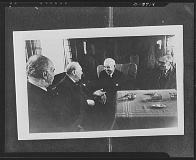 Prime Minister Winston Churchill and president of Turkey. Churchill and Ismet Inonu, president of Turkey, exchange pleasantries on board the presidential train as they met in Adana for conference. Left to right: Marchal Fevsi Cakmak, chief of staff of Turkish army, Churchill, Inonu and Sukru Saracoglu, Turkish prime minister