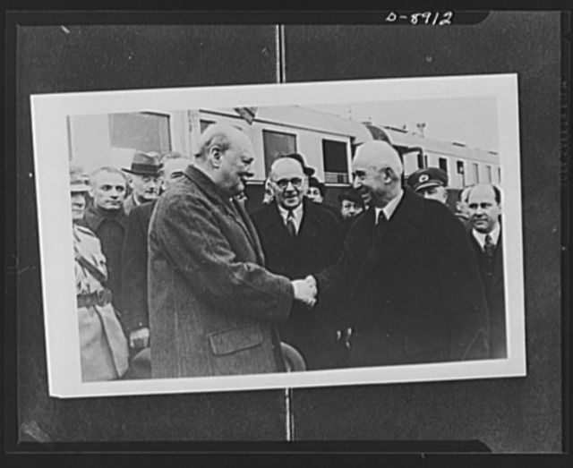 Prime Minister Winston Churchill and president of Turkey. Churchill is greeted by Ismet Inonu, president of Turkish Republic, against the background of the presidential train on board which the conference was held by these two leaders at Adana