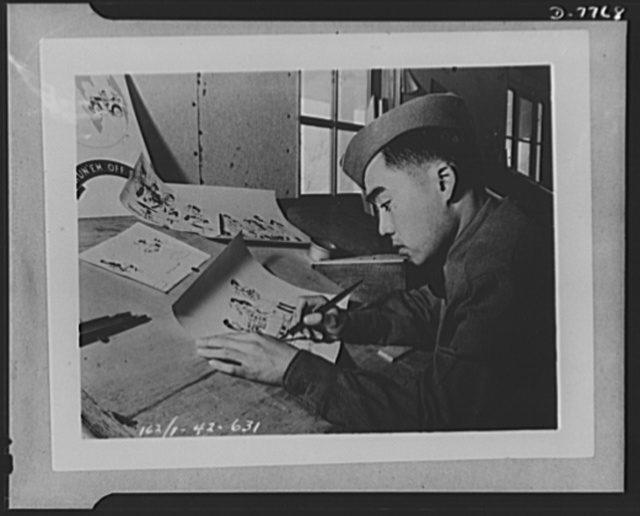 "Private Mitchie M. Miyamoto, U.S. Army. ""Second only to Walt Disney""--that's what the Nineth Armored Division thinks of its cartoonist. He is Private Mitchie M. Miyamoto, twenty-two, an American-born citizen of San Francisco, whose parents are in a Japanese war relocation center. Miyamoto is a ""natural"" with the drawing pen and ink, and spends his spare time sketching caricatures of his troopmates and officers. He is now on special duty with the public relations section of the Nineth Armored Division"