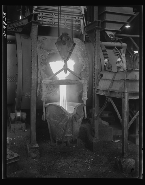 Production. Copper. Molten copper pouring from a converter at the Garfield, Utah smelter of the American Smelting and Refining Company. This plant is producing vast quantities of the copper so vital for war purposes