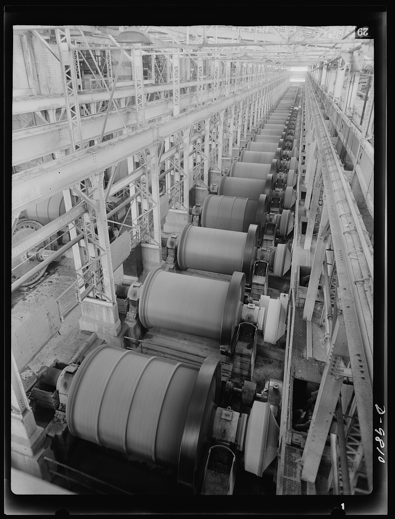 Production. Copper. This long row of large capacity ball mills is used for fine grinding of copper ore at one of the concentrators of the Utah Copper Company. Its mills at Magna and Arthur in Utah are treating vast quantities of the copper so vital for war purposes