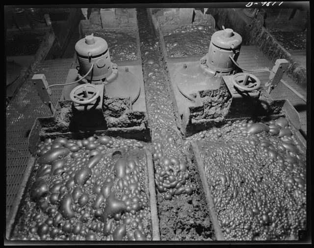 Production. Copper. Two flotation machines at the Arthur plant of the Utah Copper Company. The bubbles remove the fine particles of copper from the finely ground ore