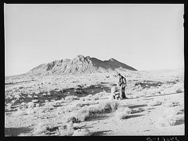 Prospector marking his claim. Esmeralda County, Nevada