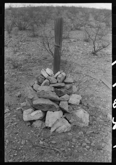 Prospector's monument in Cochise Couty, Arizona. There are still many old time prospectors throughout this section and they stake claims in the old time way with the claim deed in a tin can buried under a pile of rocks