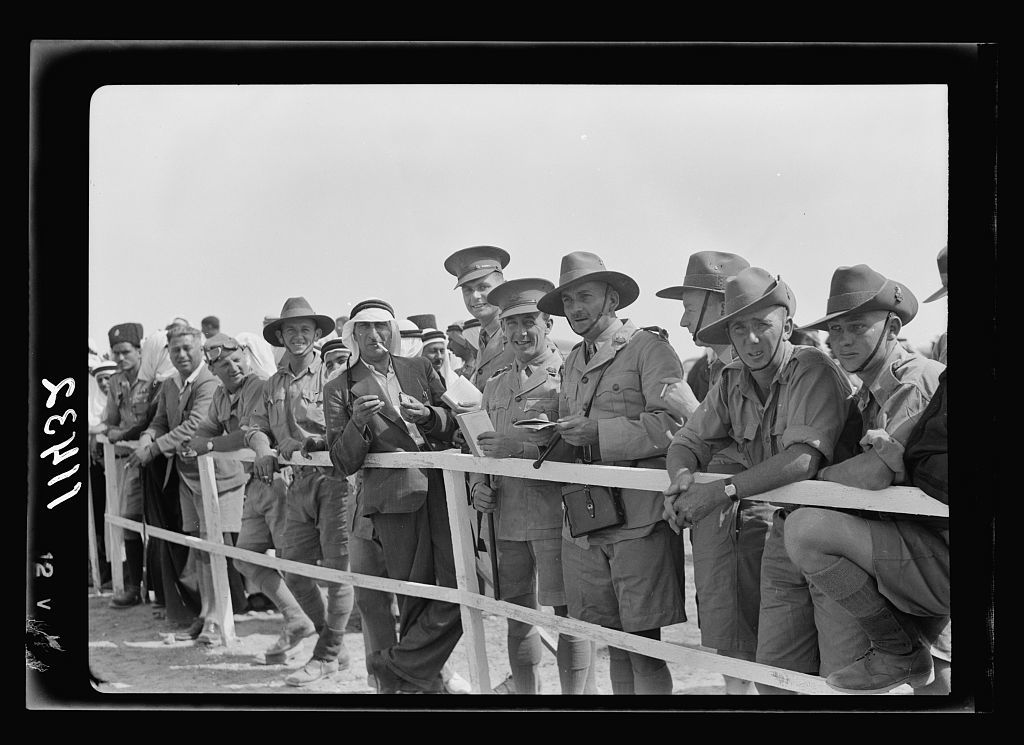 Race meeting (horse & camel). Beersheba. Australia officers watching races with Bisharet Eff.