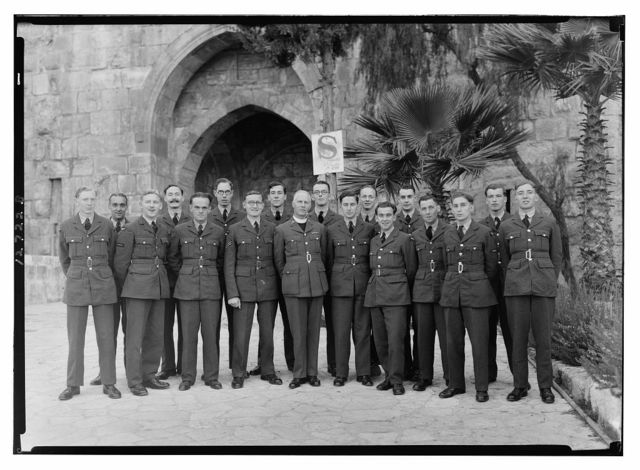 R.A.F. [i.e., Royal Air Force] group taken at tower of David for Padre Smith-Master[?]