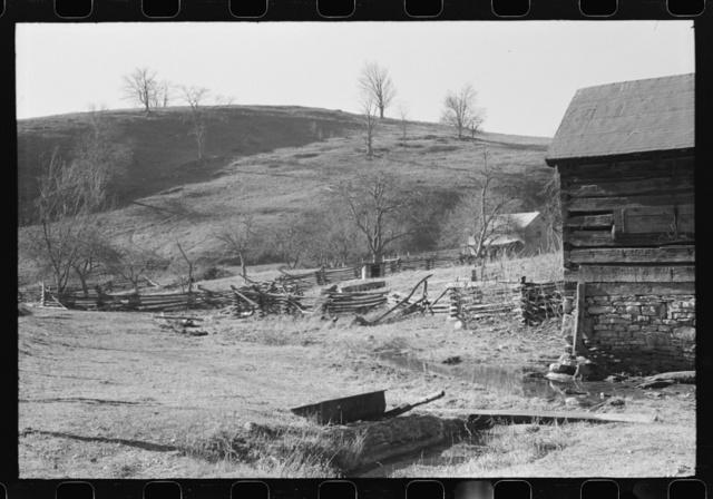 Rail fence and farmhome. Near Luray, Virginia