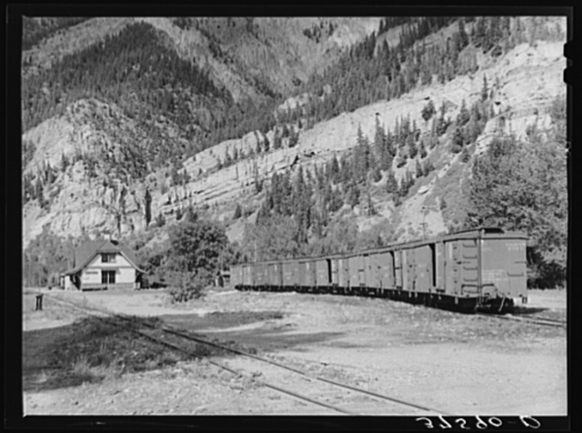 Railroad station of the D.& R.G.W. Railroad at Ouray, Colorado. This narrow gauge line formerly had passenger service but now is confined to freight service