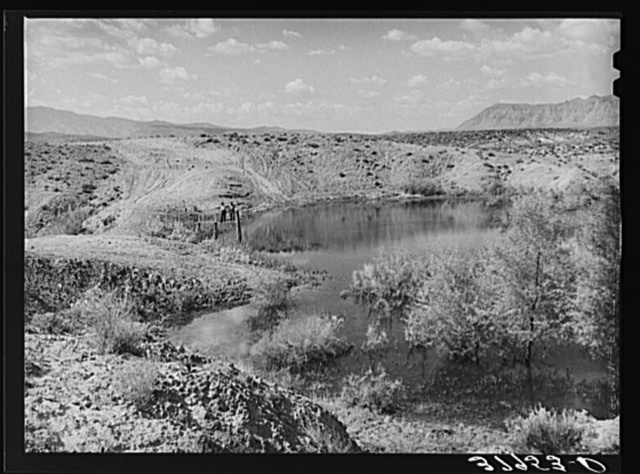 Reservoir of water used for irrigation. Washington County, Utah