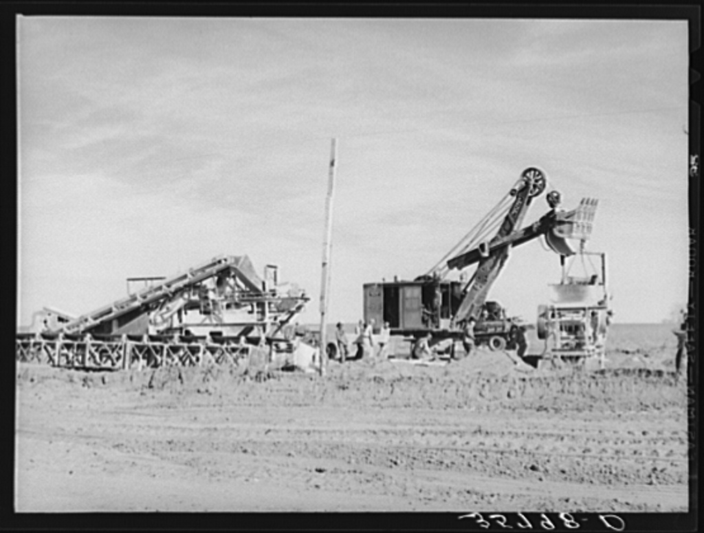 Road construction in Gaines County, Texas