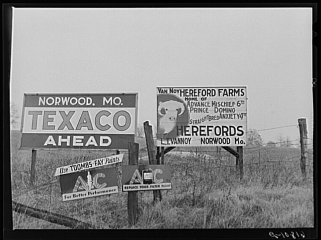 Road signs. Wright County, Missouri