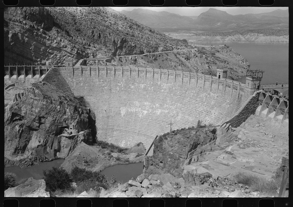 Roosevelt Dam which stores water for the Salt River Valley, centering around Phoenix, Arizona. The dam is at Roosevelt, Arizona