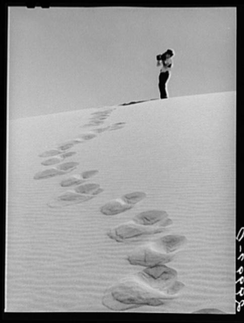 Sand dune. Nye County, Nevada Caption before agency editing: Photographing sand dune, Nye County, Nevada.