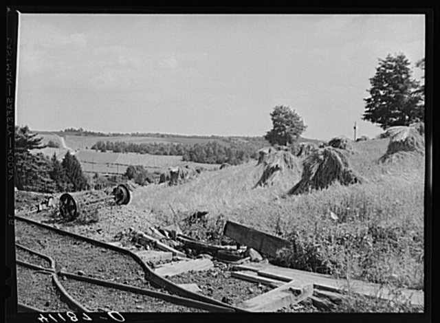 Scene on Britton farm near Falls Creek, Pennsylvania, showing combination of coal mining and farming