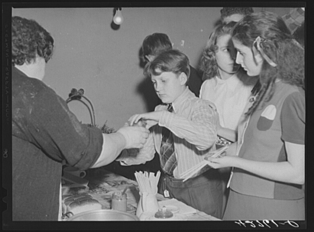 Selling hot dogs at a Saturday night square dance in Clayville, Rhode Island