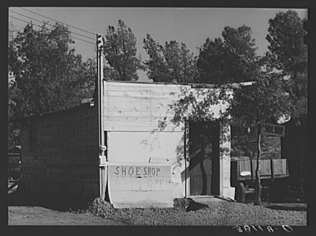 Shoe shop, a new business opened in boom town of Central Valley, California near Shasta Dam