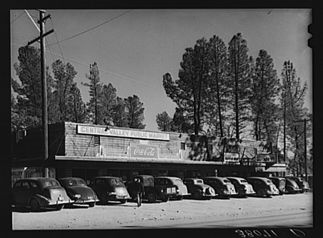 Shopping centers are springing up at the small towns near Shasta Dam site.  This one was at Central Valley, California