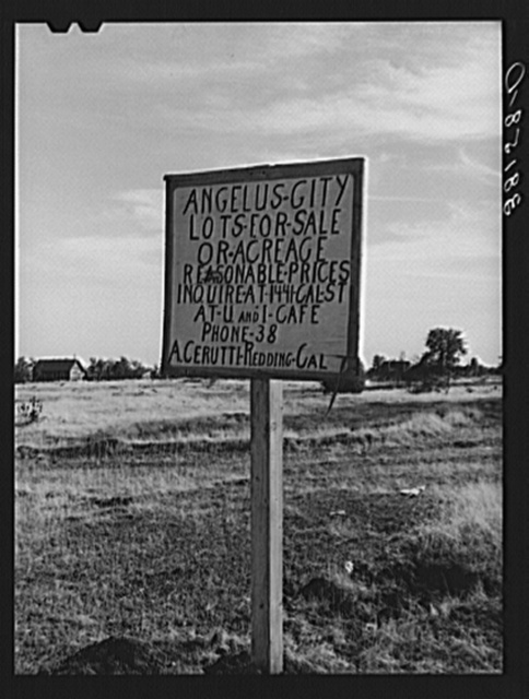 Sign at Angelus City, California, boom town near Shasta Dam