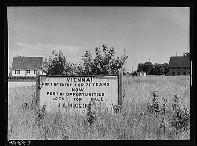 Sign on a vacant lot in Vienna, Maryland
