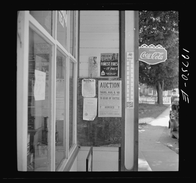 Signs outside general store. Lincoln, Vermont
