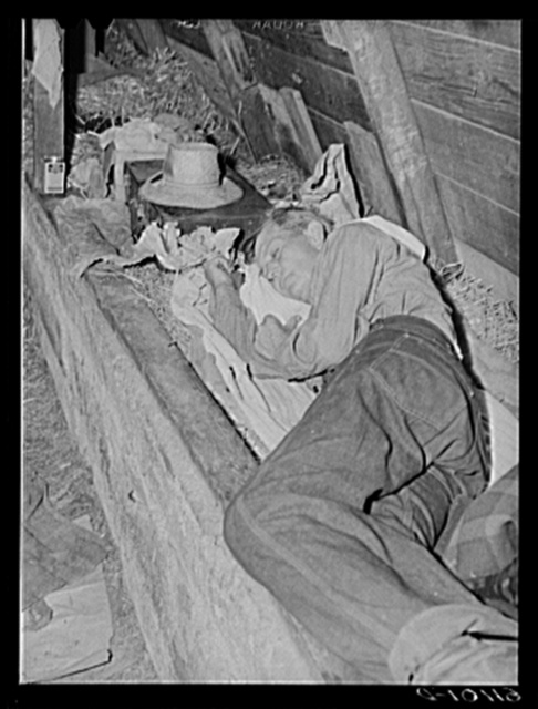 Sleeping quarters in old barn occupied by migrant fruit workers. Berrien County, Michigan