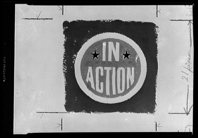 "Slogan for a production army. 2. The simple truth animates the above rough sketch of a sticker, another of those suggested by the War Production Board (WPB) in connection with the war production drive. Because every machine and every man engaged in turning out the weapons of war is ""in action"" as surely as though machine and man were in the frontline. Idea is for the promotion soldier to paste the sticker on his machine or on his tools as a reminder"