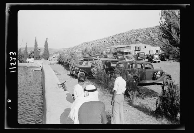 Solomon's pools becomes a picnic & swimming resort. Cars from Jerusalem arriving at the Solomon's pools picnic grounds