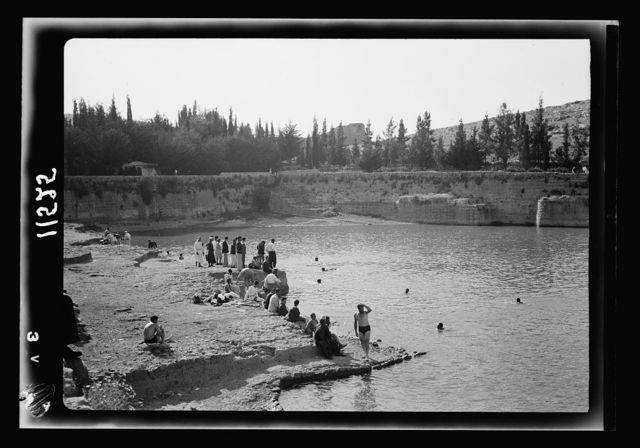 Solomon's pools becomes a picnic & swimming resort. Group of bathers in middle looking N.W.