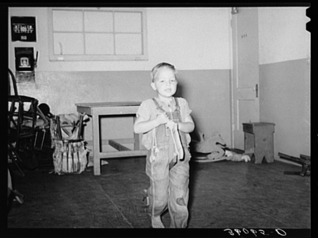 Son of migratory agricultural laborer in the WPA (Work Projects Administration) nursery at the Agua Fria migratory labor camp. Arizona