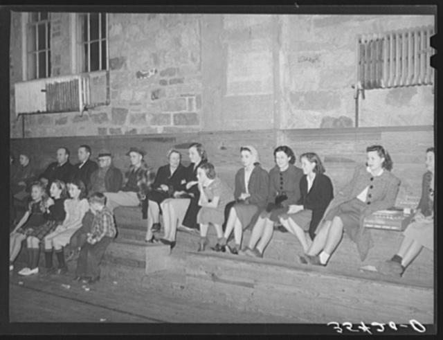 Spectators at basketball game at Eufaula, Oklahoma
