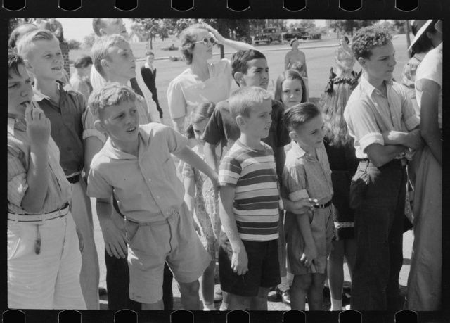 Spectators at soapbox auto race during July 4th celebration at Salisbury, Maryland
