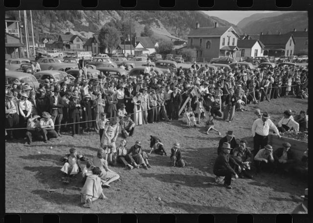 Spectators at the miners contest, Labor Day celebration, Silverton, Colorado
