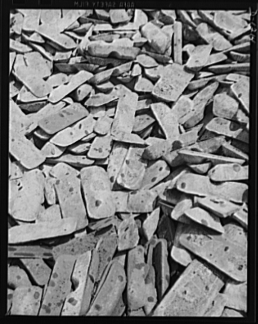 Steel manufacture, Allegheny-Ludlum. Pig iron such as this is a major ingredient of steel. Blast furnaces have smelted down the iron ore to obtain the pig iron used in all three types of steel furnaces: open hearth, Bessemer converter, and electric