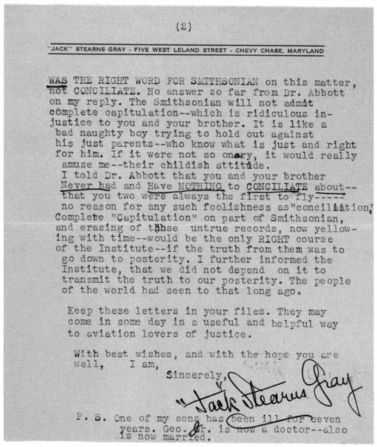 Subject File:  Smithsonian Institution--Dispute--Correspondence, 1940-1941