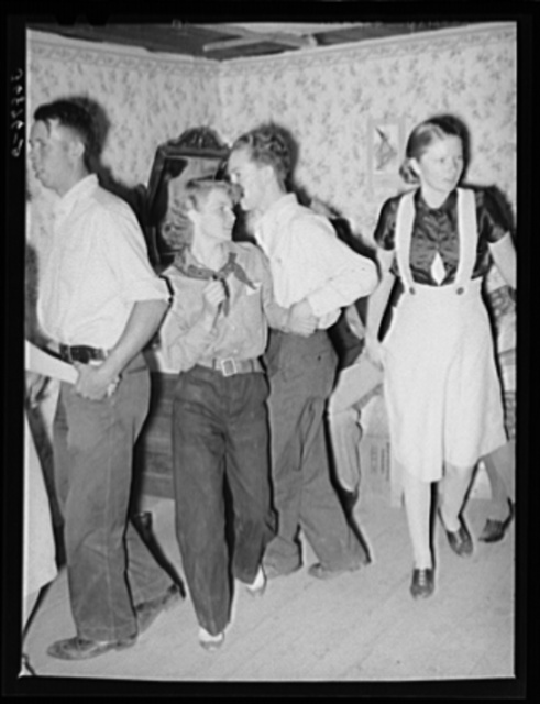 """""""Swing your partner"""" square dance. Pie Town, New Mexico"""