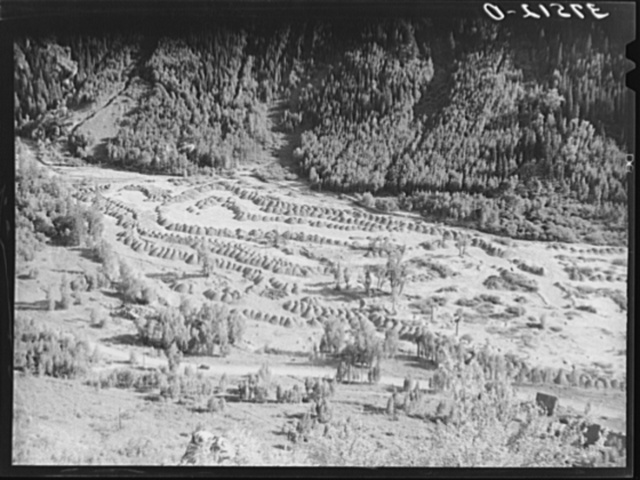 Tailings pit of gold mill at Telluride, Colorado