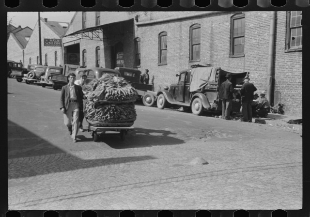 Taking a load of tobacco into the warehouse for the auction sale. Danville, Virginia