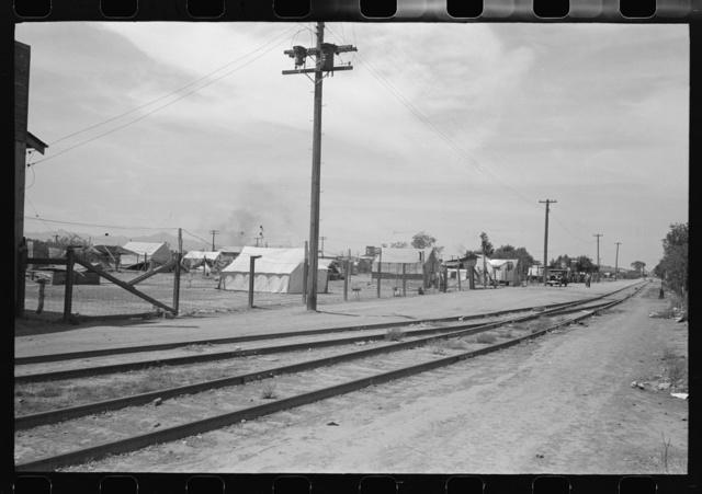Tents used for dwellings near the railroad tracks in Phoenix, Arizona