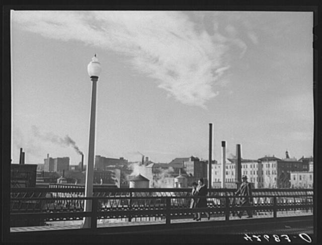 Textile mills seen from a bridge in Woonsocket, Rhode Island