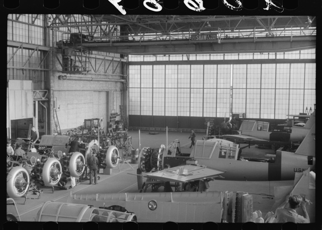 The assembly floor of the Vought-Sikorsky Aircraft Corporation, Stratford, Connecticut